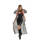 Red Black Lace Cape W Wings
