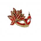 Venetian Mask Red W Gold & Gem