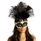 Carnival Mask Big Feathr Bk/Gd