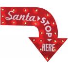 Santa Stop Here Vintage Sign