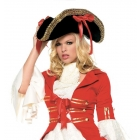 Hat Pirate Blk W Red Ribbons